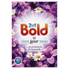 Bold 2 in 1 Washing Powder Lavenderand Camomile 40 Washes, 2.6 kg, Pack of 4 (total washes 160) £8.33 (Prime) / £13.08 (non Prime) at Amazon