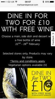 Marks & Spencer Dine in for 2 with wine £10