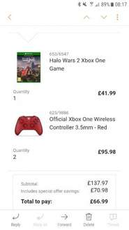 2 x xbox one controller and halo £66.99 Argos