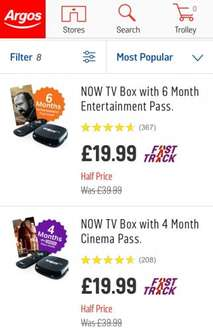 NOW TV 6 MONTHS ENTERTAINMENT AND 4 MONTHS MOVIES HALF PRICE £19.99 @ ARGOS