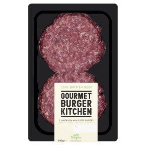 Gourmet Burger Kitchen 2 Aberdeen Angus beef burgers was £4.49 now £2.99 at Waitrose (342g)