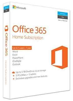 Microsoft Office 365 Home, Licence Card, 5 Users, 1 year subscription (PC/Mac) £49.99 @ Amazon