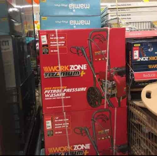 Work Zone Petrol Pressure Washer at Aldi Burscough £69.99 rrp £200