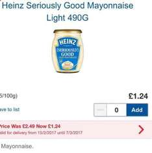 Heinz Seriously Good Mayonnaise £1.24 @ Tesco HALF PRICE