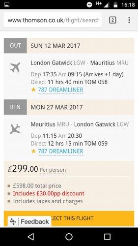 Flights to Mauritius £299 @ Thomson
