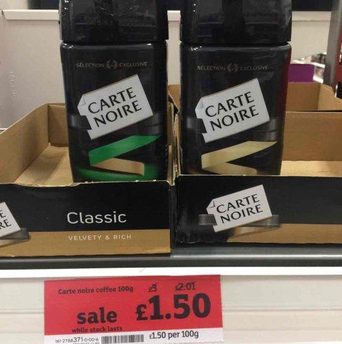 Carte Noir I stand coffee classic/decafe 100g £1.50 @ Sainsbury's