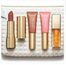 Half price on selected Clarins sets with travel pouch as low as £23 (free 5ml versace perfume if you add any skincare lowest £1) @ Superdrug see description for details