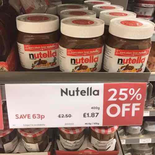 Nutella 400g jar  £1.87 at Waitrose