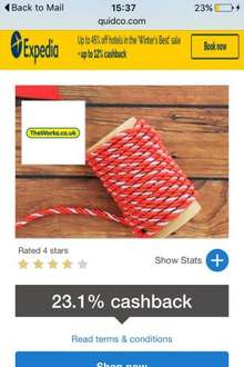 The Works 23.1% Cashback with Quidco plus an extra 20/30% off using code when you spend £20/30