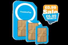 Freedom pop sim only one month contract deal 2.25GB data unlimited minutes and texts £6.99 first month free, plus quidco.