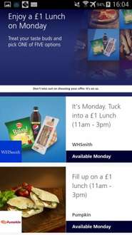 O2 priority meal deals for  £1.00 on Monday 27 February