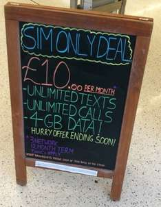 Sainsbury's Phone Shop: Unlimited mins/text, 4GB Data. £10pm/12 months on 3 - £120