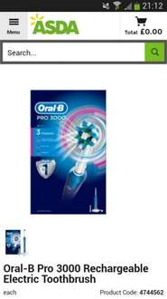 Oral-B Pro 600 3D White and Clean Electric Toothbrush reduced from £50 to £15 and Oral-B Pro 3000 Electric Toothbrush reduced from £95 to £45 @ ASDA (Instore & Online)
