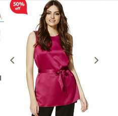Tie Waist Satin Tunic Top 50% off now £9 at tesco f&f free c&c
