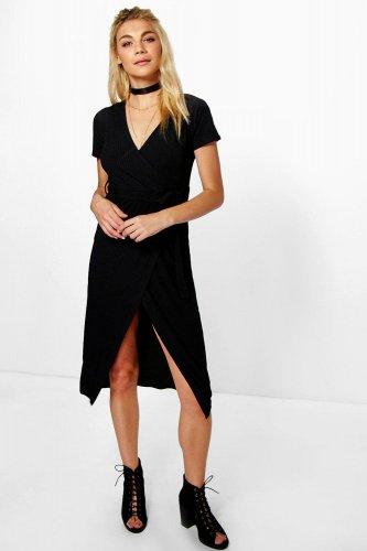 Sonya Rib Wrap Midi Dress £6.00 + £1.99 delivery @ boohoo