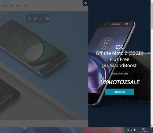 Moto Z Play 32GB £319.98 With Code Today Only (£50 off Plus JBL Soundboost) @ Motorola