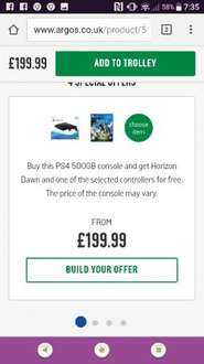 PS4 Slim 500GB Console, Horizon zero dawn (or another game) and extra controller for £199.99 (poss £189.99) at Argos