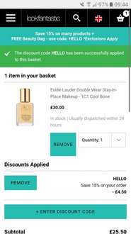 Estee lauder double wear 15% off with code now £25.50 plus free standard delivery @ Look Fantastic