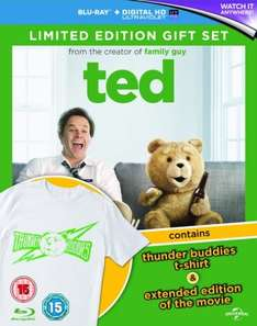Ted Blu-ray with UV Extended Edition + Thunder Buddies T-Shirt Limited Edition £4.50 delivered Zoom
