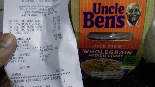 Uncle Ben's Wholegrain Medium Curry at 20p Sainsbury's instore
