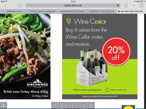 Lidl 20% off 6 bottles of wine