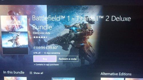 BF1 & Titanfall 2 Deluxe Bundle £39.60 @ XBox