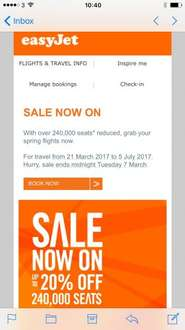 Up to 20% off easyJet flights for 21 march to 5 July 2017, ends midnight 5 march 2017