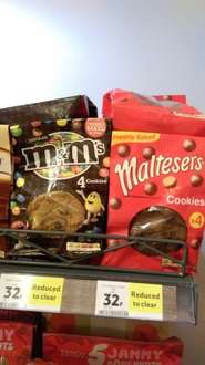 M&Ms and Maltesers cookies at Tesco - 32p instore