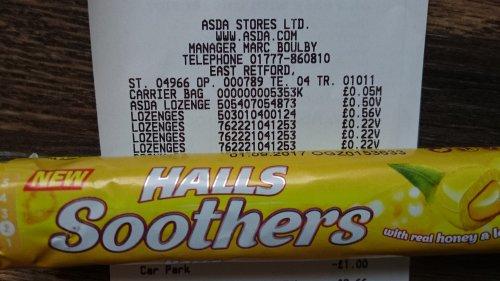 Halls soothers honey and lemon 22p instore @ Asda Retford