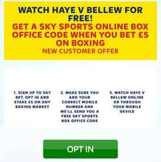 Haye v Bellew fight for free with when you place a £5 bet New sky bet @ skybet (new customers only) - code will be texted 7-9pm