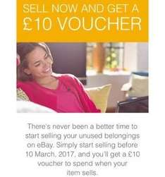 Ebay - sell now and get £10 voucher (email invite only)