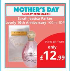 Sarah Jessica Parker Lovely 100ml @ Savers for only £12.99