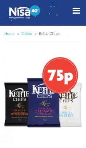 Kettle Chips 75p @ Nisa