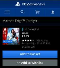 Mirror's Edge Catalyst PS4, £9.99, SAVE 66% at PSN