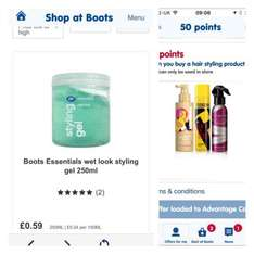 Boots hair styling gel for 59p, receive 50 points via Boots app.