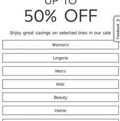 M&S sale up to 50% off Live Now
