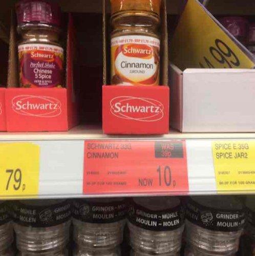 Schwartz ground cinnamon reduced to 10p B&M in store