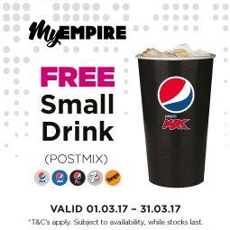 Free Small Postmix Drink @ Empire Cinemas