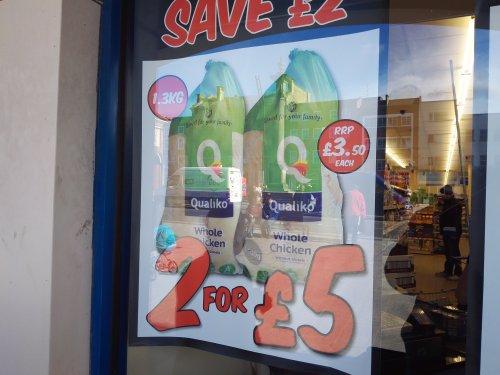 Halal Qualiko frozen chicken 1.3kg x2 £5.00 or £2.99 each @ Fultons foods