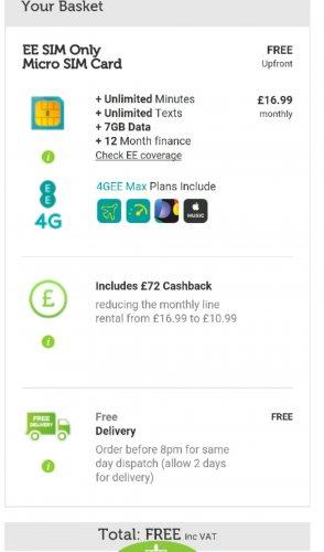 EE 7gb unltd mins an text max plan £16.99 (£10.99 after cashback)  mobilephonesdirect.co.uk