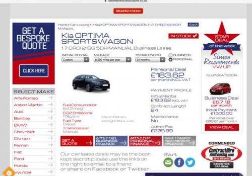 Kia Optima Sportswagon 1.7 CRDI 2 ISG Lease deal £183 per month £4646.87 @ National Vehicle Solutions