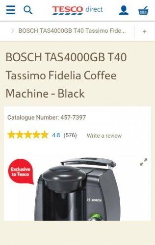Buy BOSCH TAS4000GB T40 Tassimo Fidelia Coffee Machine - Black from our Pod & Capsule Machines range £49.99 - Tesco