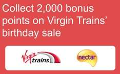 2,000 Nectar points (worth £10) when you book a virgin train ticket from just
