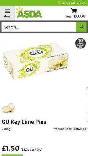 GU key lime pies £1.50 (normally £3) at Asda online