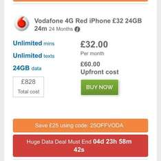 iPhone 7 32GB on Vodafone with 24GB data, unlimited calls & texts - £35 upfront and £32p/m on Mobiles.co.uk + £25 Quidco cashback - £778 Total Cost mobiles.co.uk