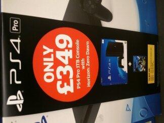 PS4 PRO + Horizon: Zero Dawn £349 @ Sainsbury's instore