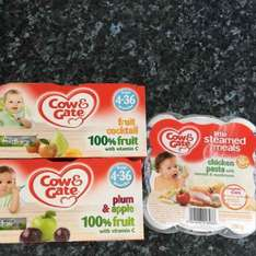 Cow & Gate baby fruit pots 4 pack 49p Little Steamed Meals 79p Home Bargains