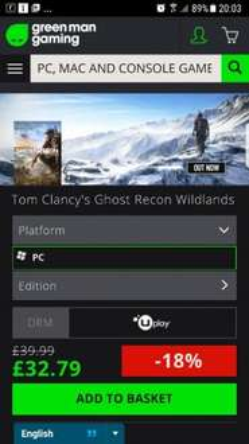 Ghost Recon Wildlands Uplay PC Key - £32.79 @ Greenman Gaming