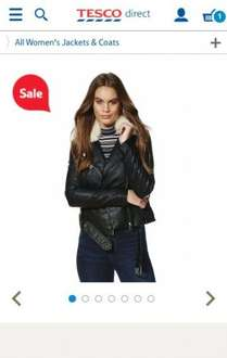 F&F Faux Fur Collar Faux Leather Biker Jacket only £5 (was £39) @ Tesco direct