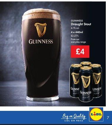 Guinness 4 for £4.00 at Lidl